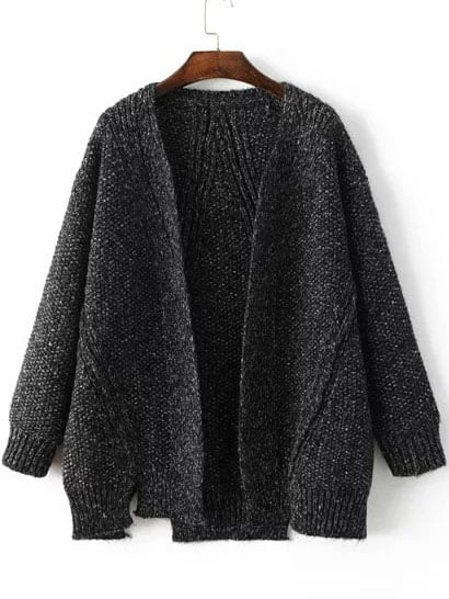 Black Collarless Ribbed Trim Slit Sweater Coat sweater160829204