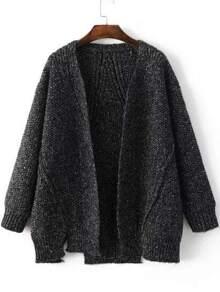 Veste pull manche longue avec fentes latérales - noir