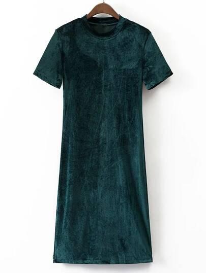 فستان أنيق كم قصير -أخضر داكن