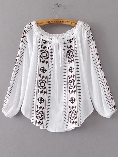 Bluse mit Stickereien Rüschen Schulterfrei-weiß