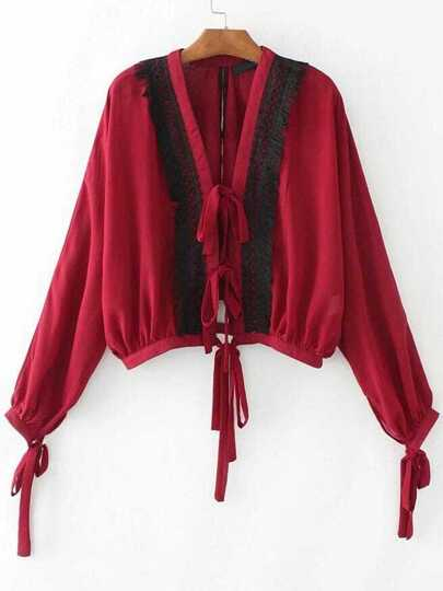 Red Eyelash Lace Trim Blouse With Tie