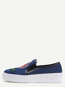 Zapatos con plataforma y parche bordado - azul