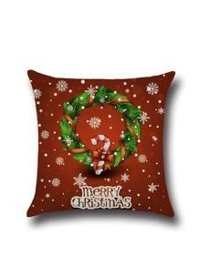 Funda de almohada con estampado navideño - rojo