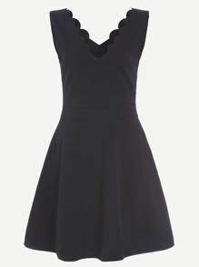 Black Scalloped V Neck Sleeveless Flare Dress