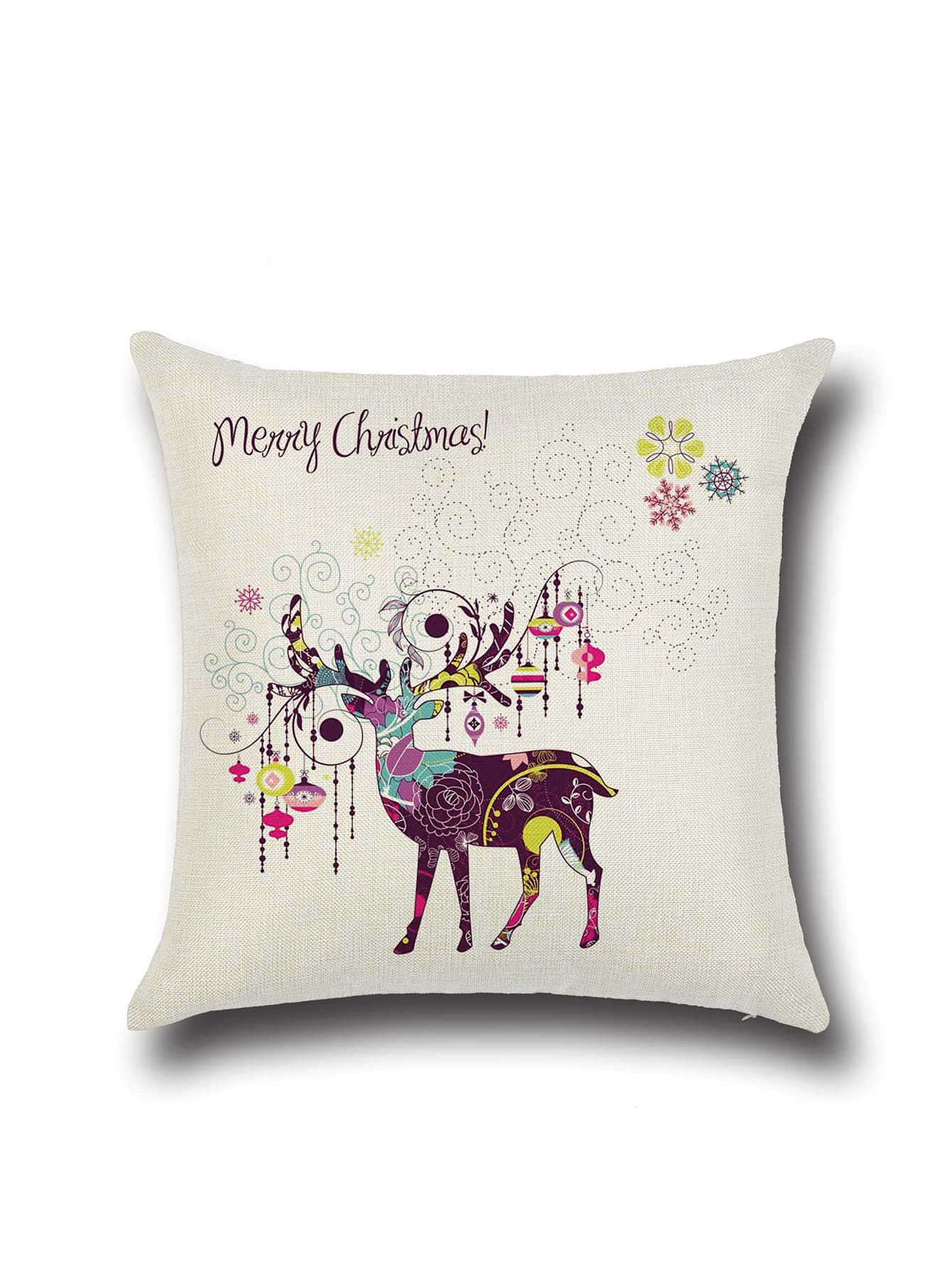 Фото Beige Elegant Reindeer Graffiti Pillowcase Cover. Купить с доставкой