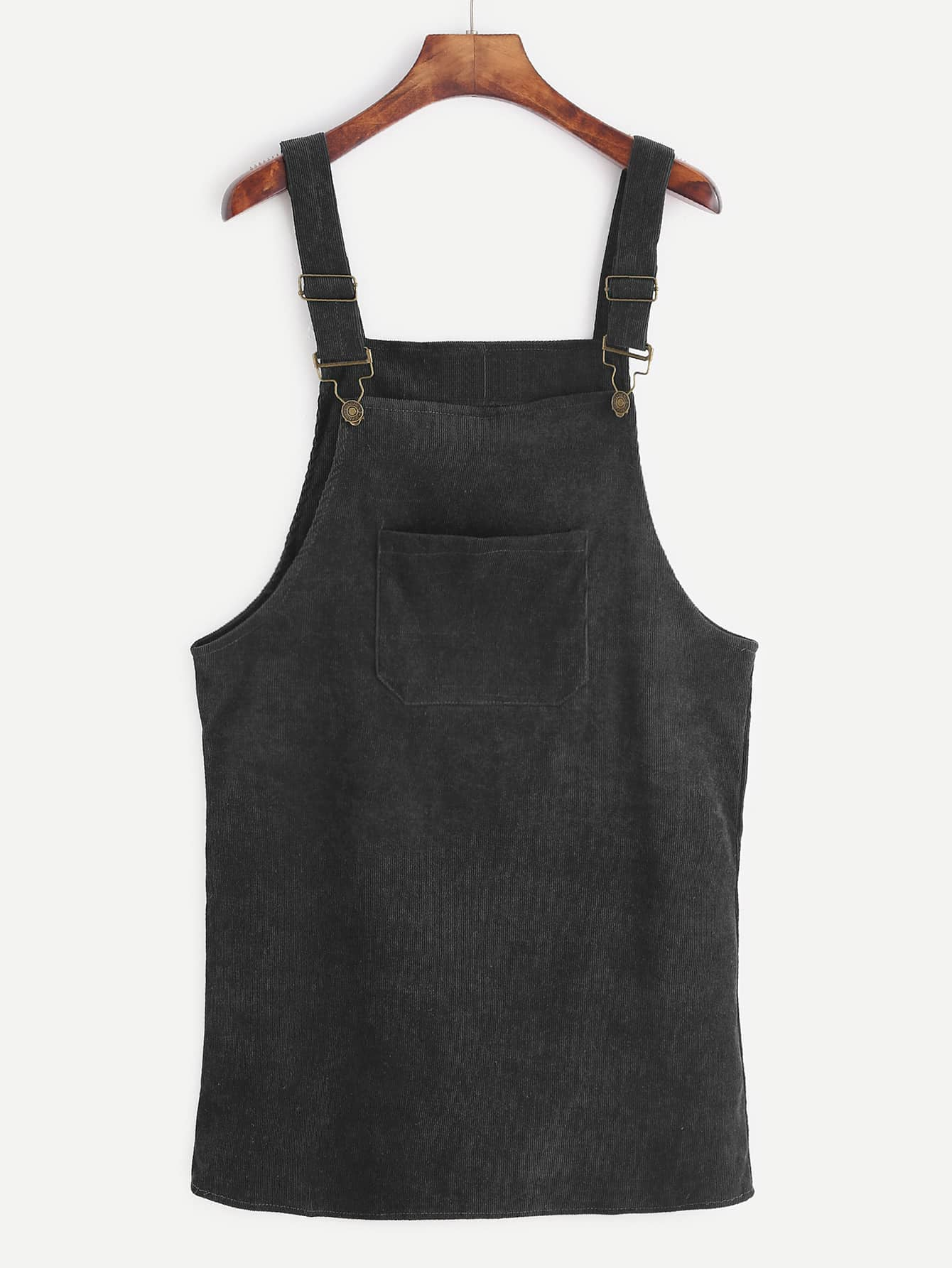 Black Corduroy Overall Dress With Pocket dress161208108