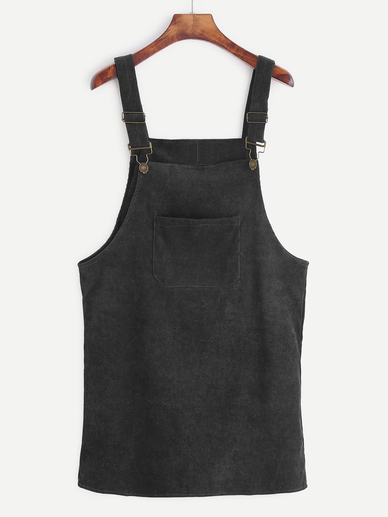 Black Corduroy Overall Dress With Pocket dress161208108
