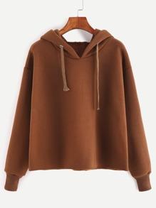 Brown Drawstring Hooded Sweatshirt