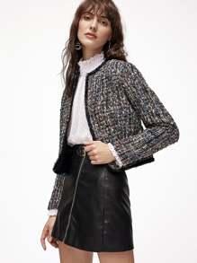 Multicolor Lace Trim Open Front Tweed Blazer