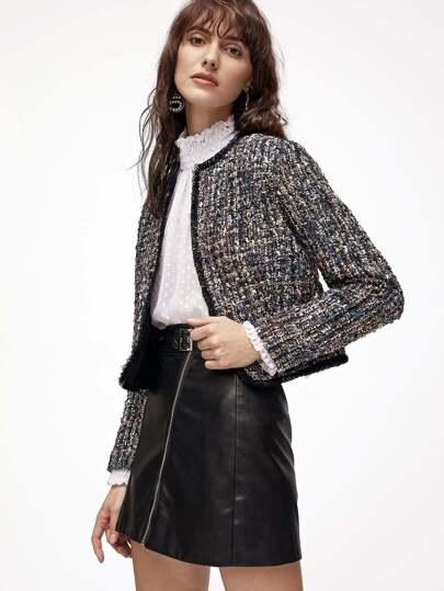 Multicolor Lace Trim Open Front Tweed Blazer