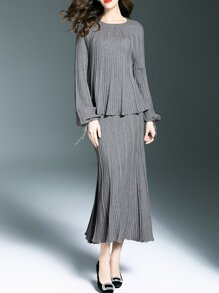 Grey Knit Top With Pleated Skirt