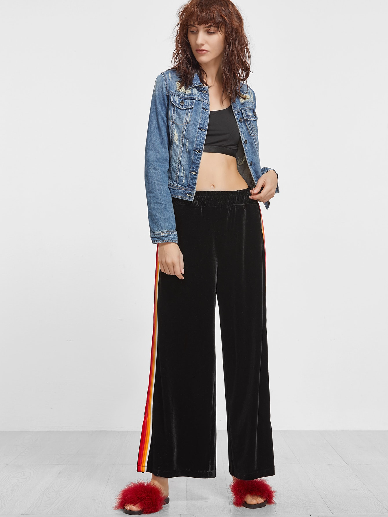 Black Velvet Striped Side Wide Leg PantsBlack Velvet Striped Side Wide Leg Pants<br><br>color: Black<br>size: M,S