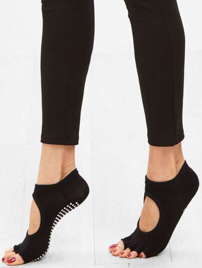 Chaussettes courtes en pois avec bout ouvert - noir