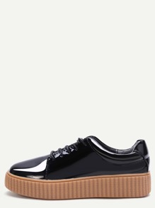 Black Patent Leather Rubber Sole Low Top Sneakers