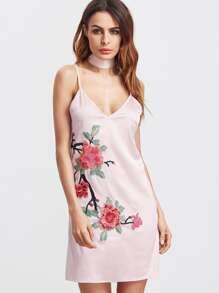 Pink Flower Embroidered Silky Cami Dress With Neck Tie