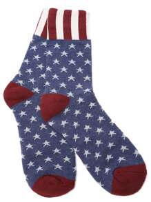 Stripe Trim Star Pattern Crew Sock
