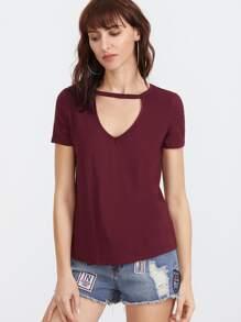 Burgundy Cutout V Neck Short Sleeve T-shirt