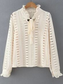 Beige Ruffle Trim Lace Crochet Blouse With Tie
