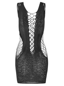 Body entallado con encaje de malla - negro