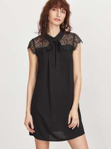 Black Tie Neck Floral Lace Shoulder Dress