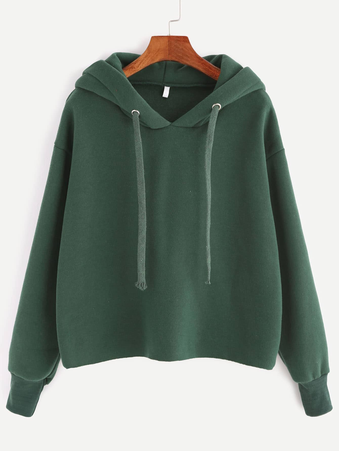 Dark Green Hooded Drop Shoulder Sweatshirt drop shoulder frill hem batwing sweatshirt
