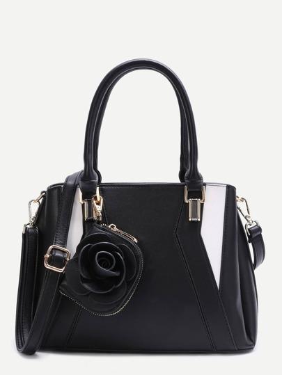 Black Patchwork Leather Floral Pendant Shoulder Bag
