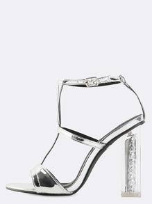Open Toe Metallic Glitter Heels SILVER