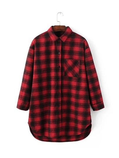 Red Tartan Plaid High Low Blouse