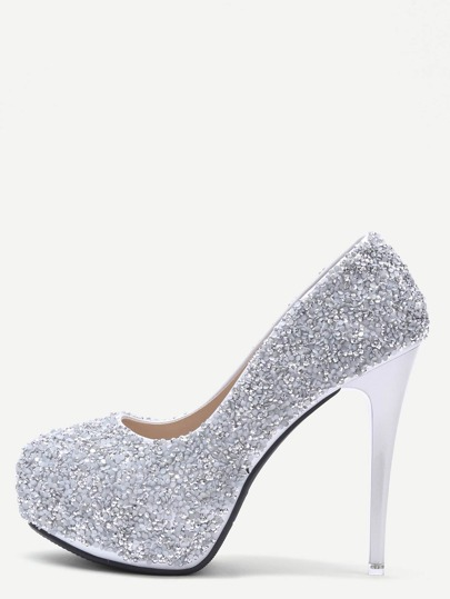 Grey Colored Sequin Inlaid Stiletto Pumps