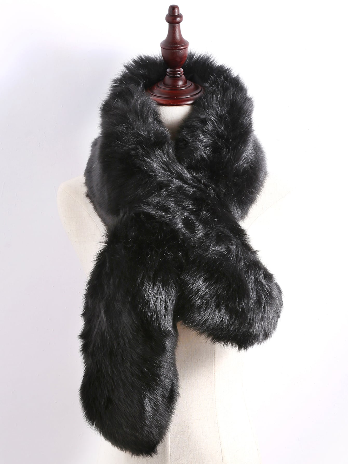 Black Faux Fur Plain Wide StoleBlack Faux Fur Plain Wide Stole<br><br>color: Black<br>size: None