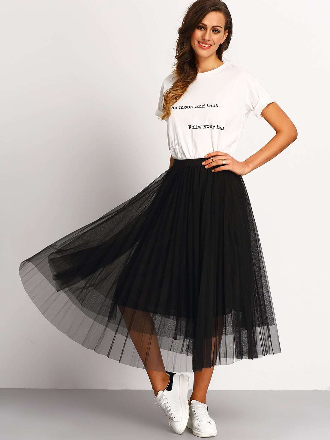 Купить со скидкой Mesh Pleated Elastic Waist Skirt