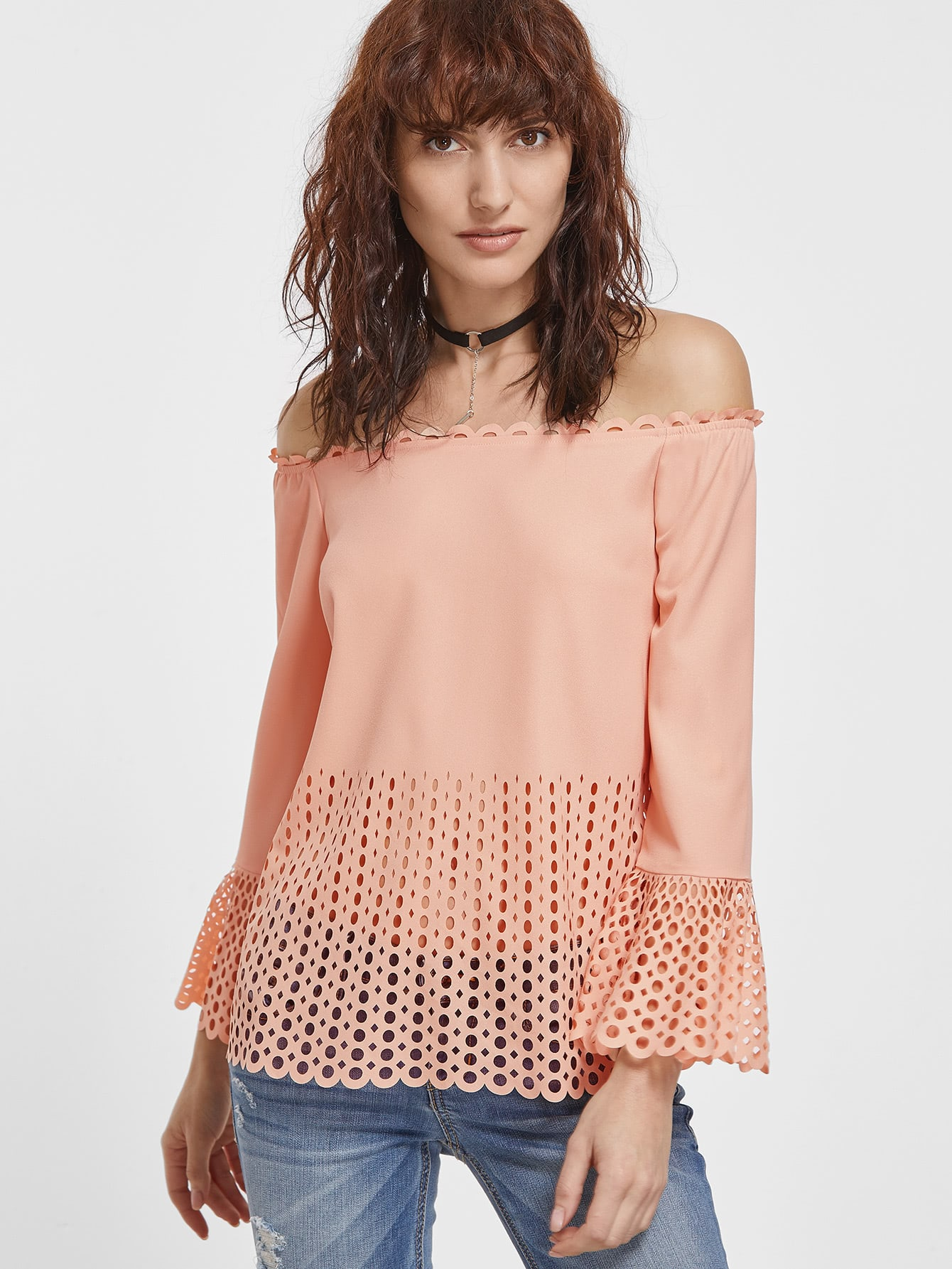 Pink Laser Cutout Off The Shoulder Bell Sleeve Top blouse161202703