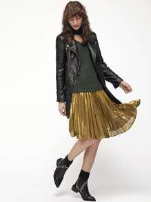 Yellow Pleated A Line Midi Skirt