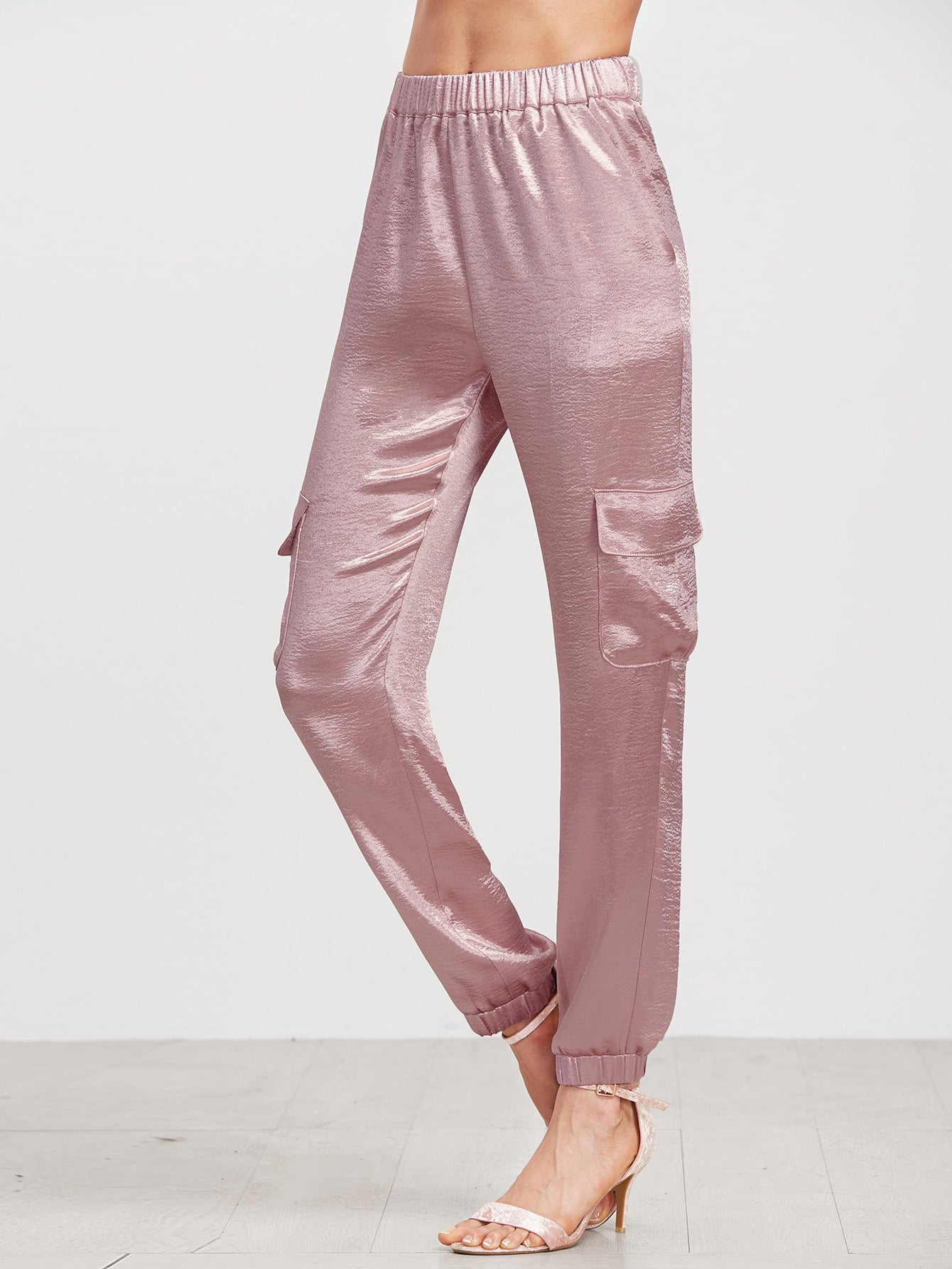 Pink Elastic Waist Satin Sweatpants