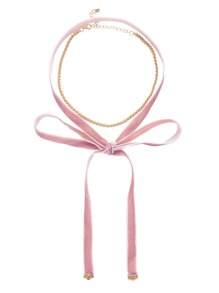 Pink Knotted Velvet Choker with Gold Chain