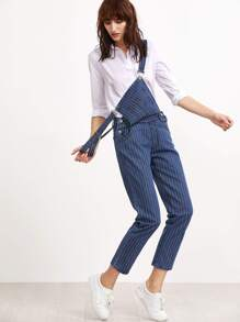 Blue Pinstripes Overall Jeans With Pocket