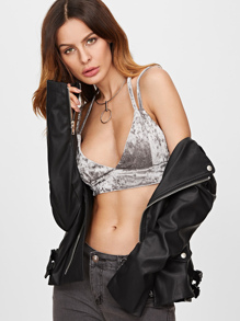 Grey Velvet Y Back Bralet