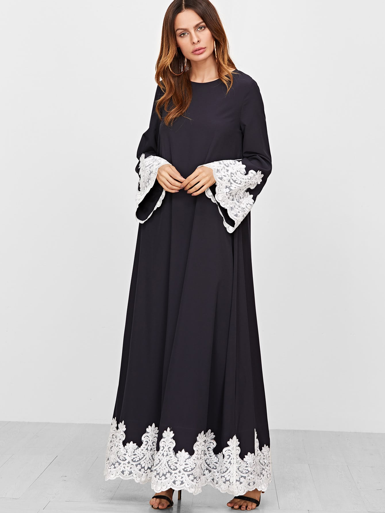 Contrast Embroidered Lace Trim Tent Dress maison jules new junior s small s pink combo lace crepe contrast trim dress $89