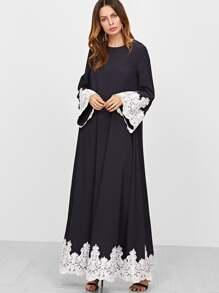 Tent Kleid Kontrast Stickreien Spitze Saum-marine