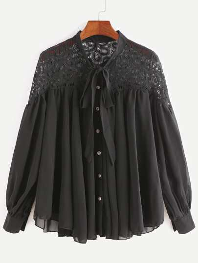 Black Contrast Lace Bow Tie Neck Chiffon Blouse