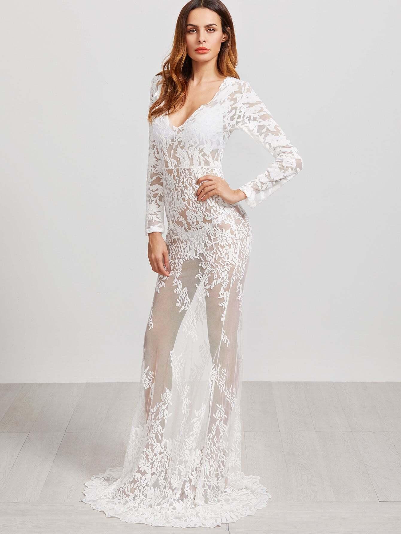 Фото Plunge Neckline Embroidered Sheer Mesh Floor Length Dress. Купить с доставкой