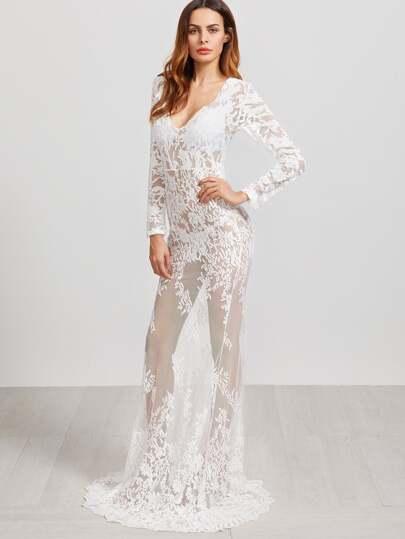 Vestido con cuello en V con bordado de malla transparente maxi - blanco