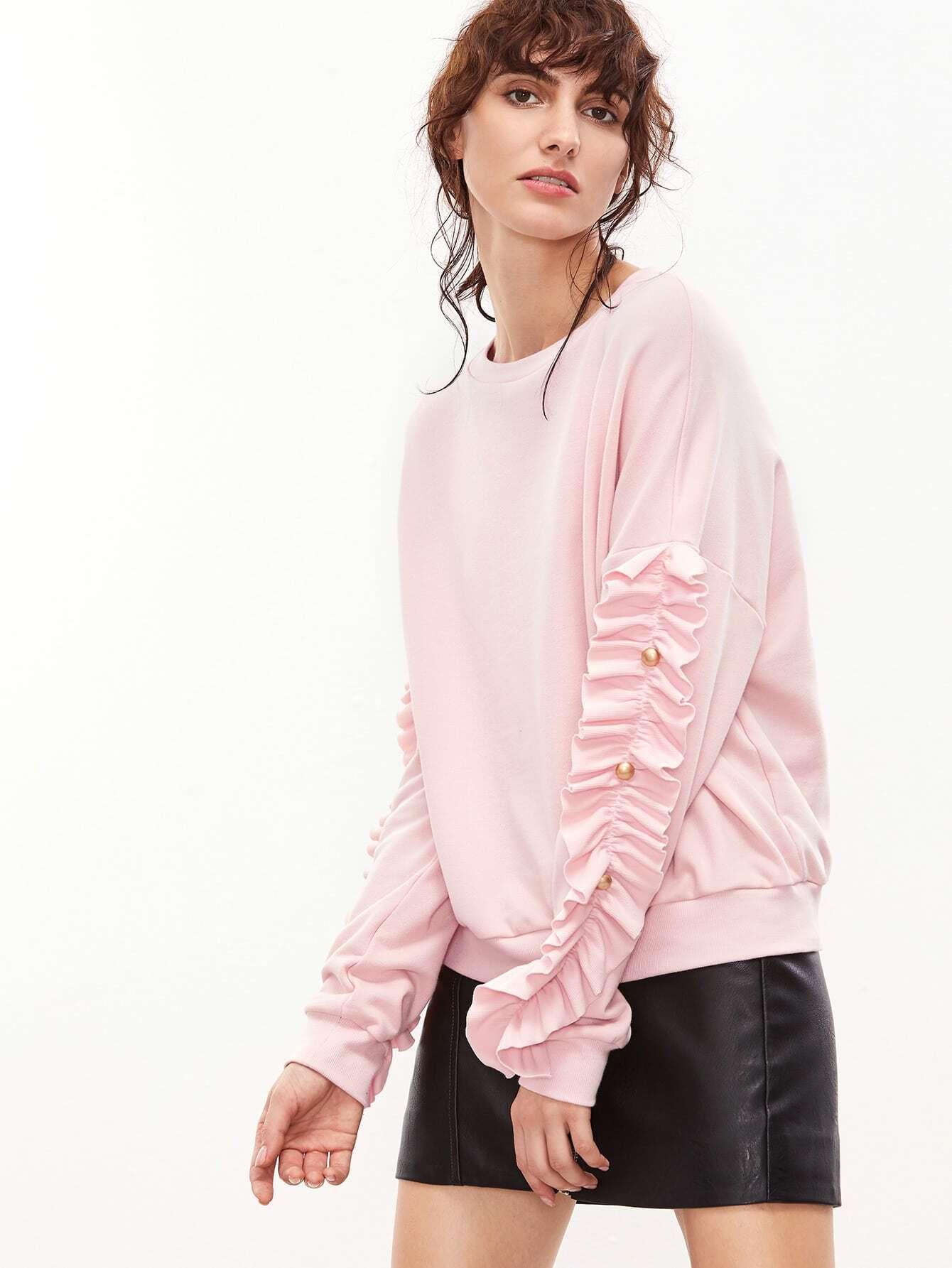 Pink Drop Shoulder Frill Trim Sleeve Sweatshirt sweatshirt161201701