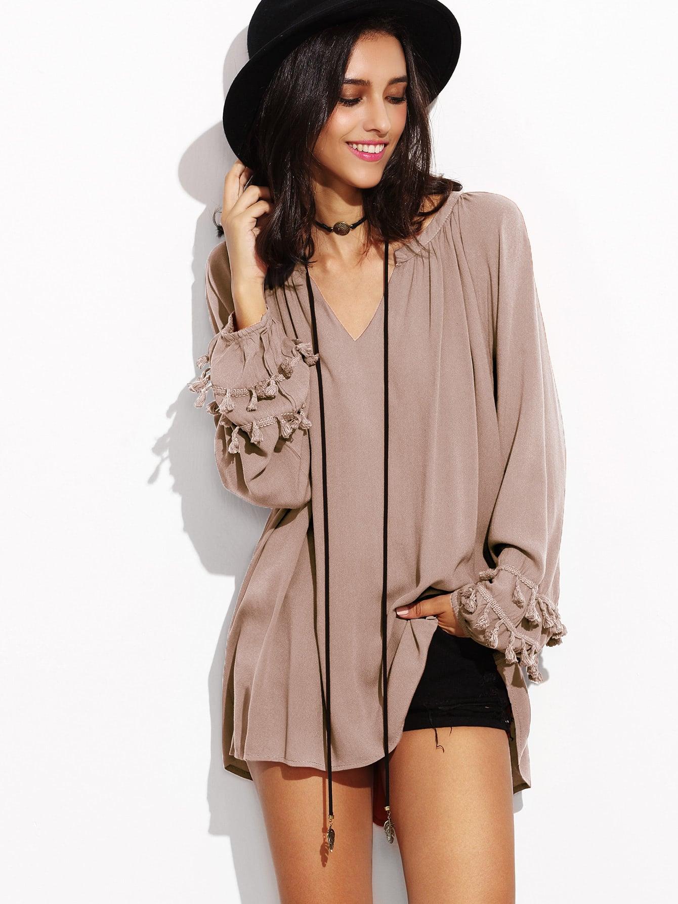 Pink V Neck Fringe Trim Dip Hem Top blouse161223004