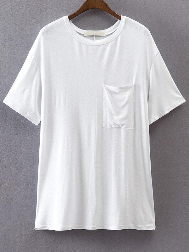 White Round Neck T-Shirt With Pocket