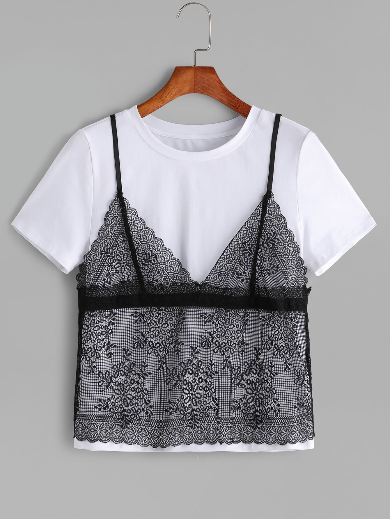 Contrast Floral Lace Cami Overlay T-shirt floral lace overlay top