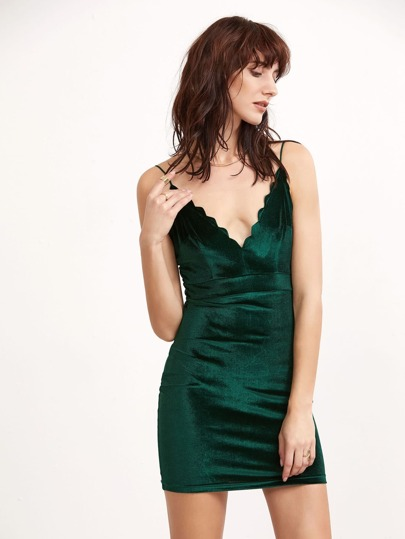Green Scallop Deep V Neck Velvet Cami Bodycon Dress