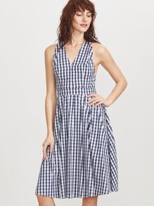 Navy Gingham V Back Crisscross Back Dress