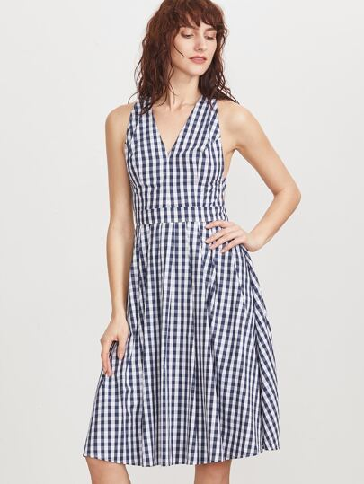 Gingham V Cut Crisscross Back Dress