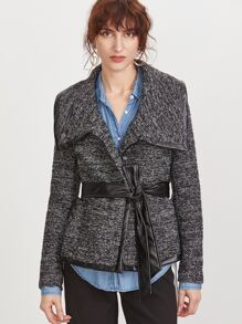 Black Marled Knit Faux Leather Binding Belted Jacket